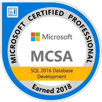 Achievement Unlocked: MCSA SQL 2016 Database Development