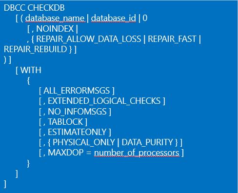 DBCC CHECKDB command