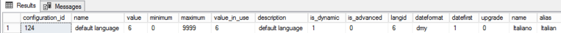 sys.configurations language