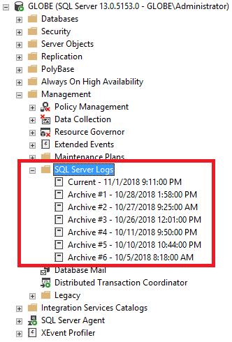 ssms object browser error log