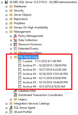 ssms object browser error log
