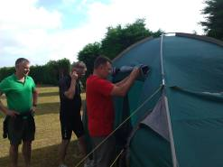 The weather improved and the tents were erected in the dry.