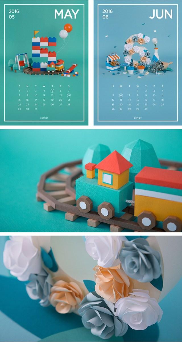 Paper art calender - Calendarios Creativos 2016