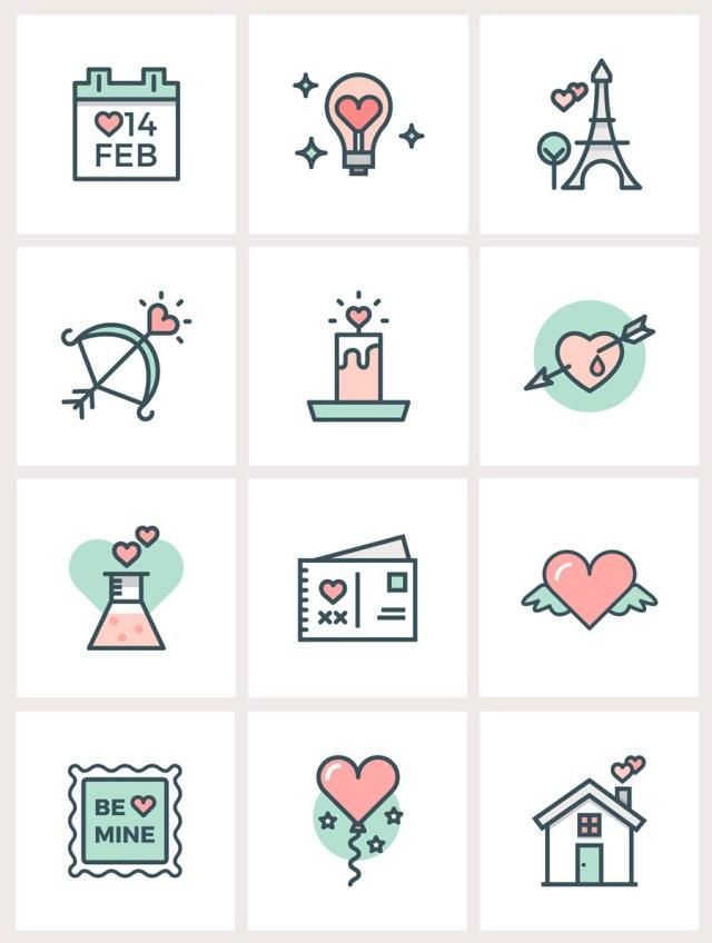 iconos san valentin flat line