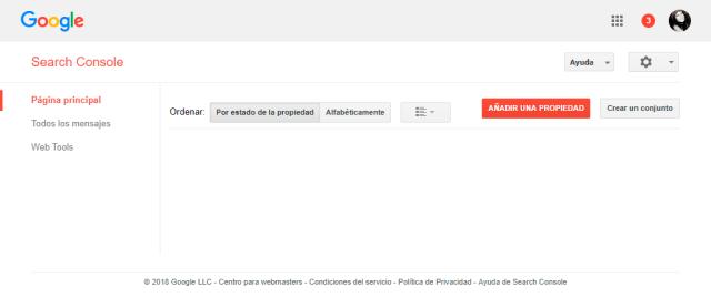 Google Search Console pantalla principal