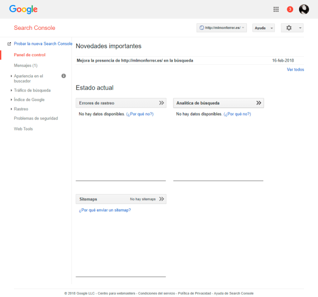Google Search Console panel de control del dominio