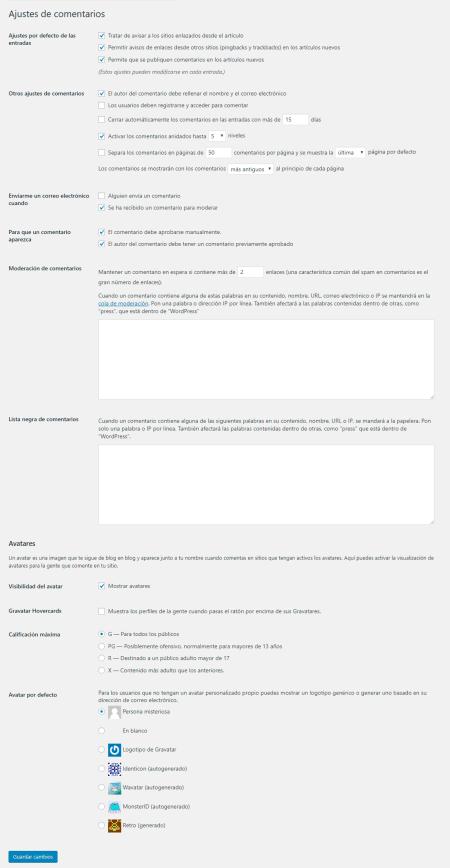 Ajustes de comentarios en la configuración de WordPress