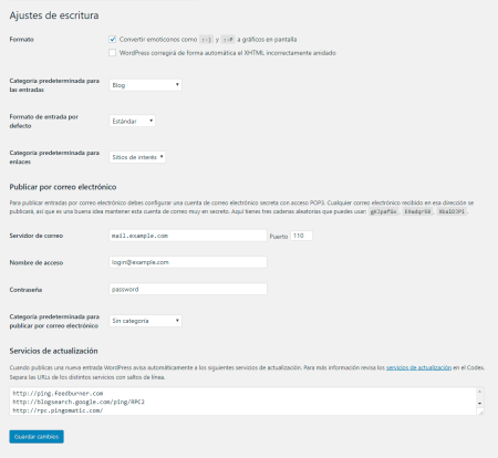 Ajustes de escritura de la configuración  de WordPress