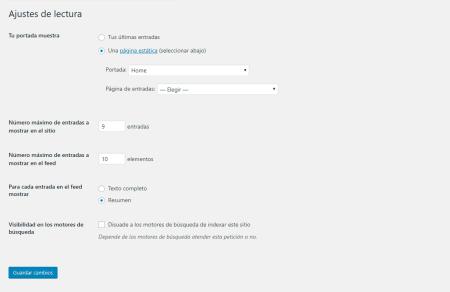 Ajustes de lectura de la configuracion de WordPress