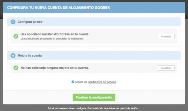 Pantalla asistente de configuración para Instalar WordPress