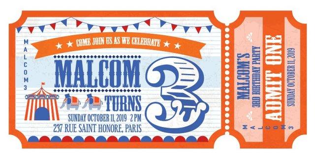 Ejemplo de diseño inspirado en el cirso  |  Admission ticket birthday invite  |  mlmonferrer.es
