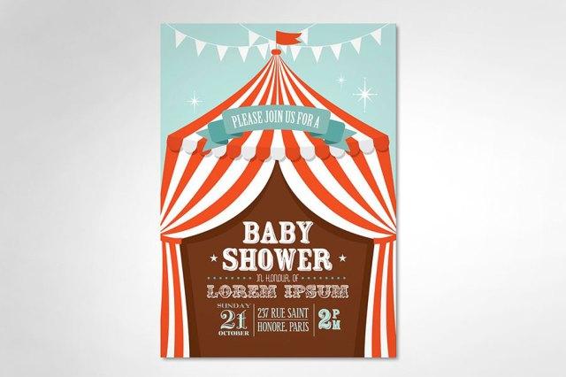Ejemplo de diseño inspirado en el cirso  |  Circus tent baby shower template  |  mlmonferrer.es