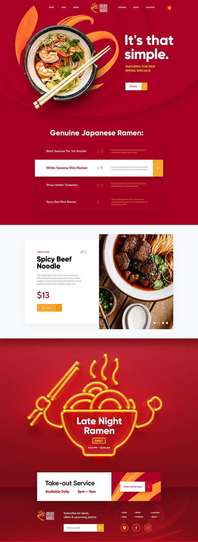 Golden Ramen / Web Site Design by Mike | Creative Mints | Inspiración web rojo | www.mlmonferrer.es