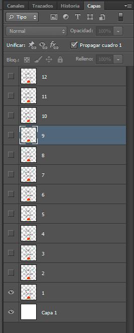 Fotogramas de la animación en capas separadas