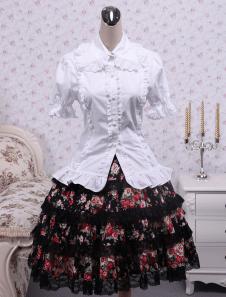 Floral Short Sleeves Cotton Lolita Suit