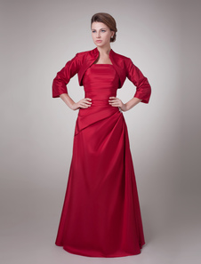Strapless Ruched Dress With 3/4 Length Sleeves For Mother of Bride