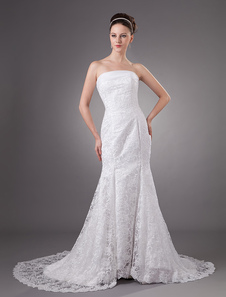 White Lace Beautiful Strapless Mermaid Trumpet Wedding Dress