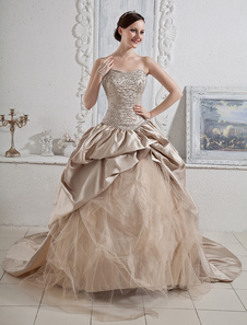Wedding Dresses Champagne Strapless Ball Gown Bridal Dress Sequin Beading Ruched Flowers Sweetheart Neck Court Train Colored Wedding Gown