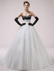 A-line Sweetheart Neck Lace Tulle Chapel Train Brides Wedding Dress