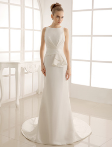 Court Train Wedding Dress With Bateau Neck Milanoo