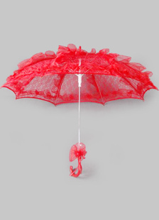 Red Wedding Umbrella Flower Lace Decor Bridal Accessories