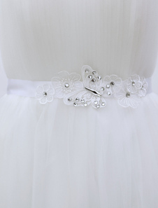Silk Wedding Sash White Flower Butterfly Rhinestone Decor Bridal Sash