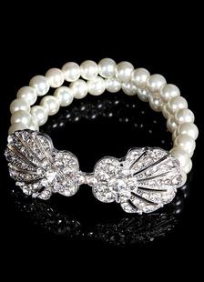 Pearl Crystal Bracelet 2 Row For Wedding Bridal