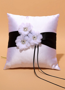 Ring Bearer Pillow White Rhinestone Flowers Beaded Satin Wedding Pillow With Ribbons