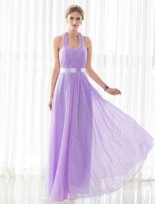 Bridesmaid Dress Lilac Chiffon Halter Pleated Floor-length Satin Sash Wedding Party Dress
