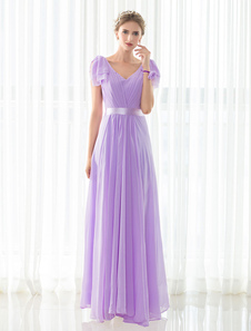 Chiffon Bridesmaid Dress Maxi Lilac Floor-length V-neck Satin Sash Wedding Party Dress