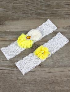 White Wedding Garter Lace Flowers Rhinestones Bridal Garter