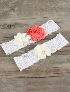 Lace Wedding Garter Chiffon Flowers White Pearls Decor Bridal Garter