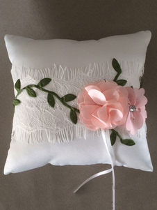 Ring Bear Pillow White Satin Lace Flowers Wedding Pillow With Ribbons