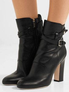 Ankle Black Boots Round Toe Chunky Heel Buckled Leather Booties For Women