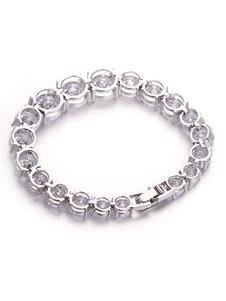 White Chain Bracelet Bridal Cubic Zirconia Wedding Bracelet Jewelry