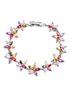 Champagne Wedding Bracelets Flower Beading Cubic Zirconia Bridal Jewelry