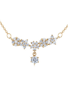 Gold Wedding Necklace Cubic Zirconia Flower Beading Bridal Necklace Jewelry