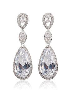 White Drop Earrings Wedding Cubic Zirconia Beading Bridal Pendant Earrings