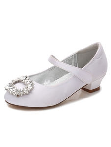 Flower Girls Shoes White Rhinestones Round Toe Chunky Heel Pumps