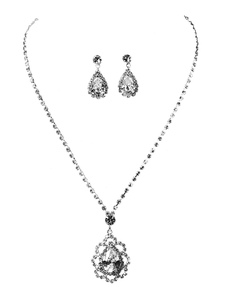 Wedding Jewelry Set Silver Rhinestones Lobster Claw Clasp Bridal Pendant Necklace With Pierced Earrings