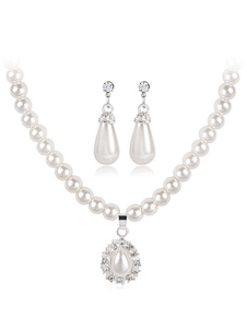 Wedding Jewelry Set Ivory Pearls Rhinestones Pendant Necklace With Pierced Earrings