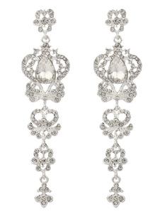 Silver Wedding Earrings Rhinestones Jewelry Beaded Long Bridal Earrings