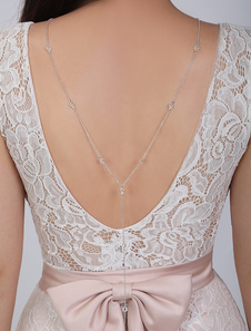 Bridal Back Necklace Silver Backdrop Chain Wedding Jewelry