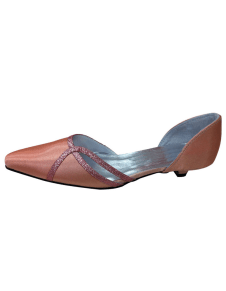 Brown Silk And Satin Sequin Pointed Toe Pumps For Bride