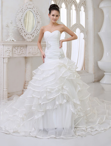 Ivory A-line Strapless Sweetheart Neck Piping Chapel Train Bridal Wedding Gown  Milanoo