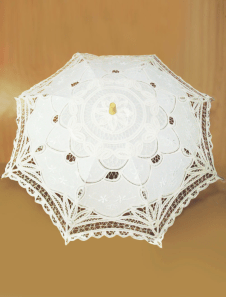 Ecru White Lace Canopy Wood Handle Wedding Umbrella