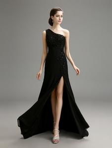 Black Wedding Dress One-Shoulder Chiffon Dress with High Slit Detail