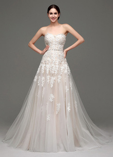 Tulle Strapless Sweatheart Lace Bodice Bridal Gown With Belt