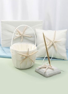 Ivory Starfish Ribbons Wedding Flowers Collection Set
