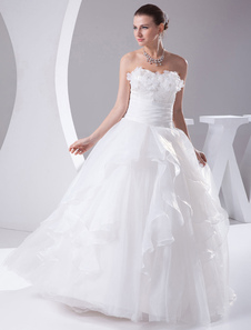 Strapless Wedding Dress A-Line Satin Beading Flower Organza Ruffles Floor Length Bridal Dress With Sash Pleated